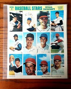 RARE 1969 MLB PHOTOSTAMPS SERIES #5 FULL SHEET PETE ROSE,F.JENKINS,O.CEPEDA HOF!