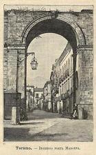 Stampa antica TERAMO Porta Madonna ABRUZZO 1891 Old antique print
