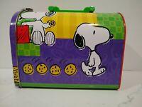 Vintage Snoopy & Cookies Mailbox Lunch Box Metal Tin Peanuts Cartoon 8 x 4 x 6