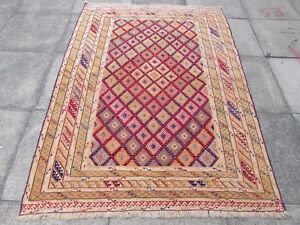 Old Hand Made Afghan Tribal Mushvani Oriental Beige Red Wool Rug 202x142cm