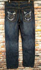 Helix Mens Straight Jeans Dark Blue Gray Destroyed Distressed Sz 29X30(30X30) (B