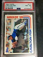 1982 Topps Baseball Card CARLTON FISK In Action #111 White Sox HOF PSA 8 NM-MT