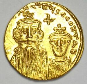 Constans II with Constantine IV AV Solidus Gold Coin 654-59 AD - Choice XF / AU