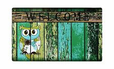"Non-Slip Home Fashions Owl Welcome Vinyl Back Painting Doormat 30""X18"""