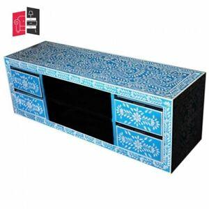 Pandora Bone inlay Blue Floral 4 Drawer TV Unit (MADE TO ORDER)