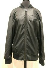 Men's American Rag Faux Leather Jacket w/Removable Hood - Color Black.  Size M