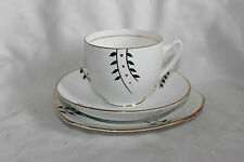 Trios Duchess White Black & Red Bamboo Tea Cup Saucer Side Plate