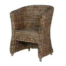 Grey-Wash Rattan Tub Chair / Rattan Tub Chair