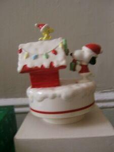 Snoopy & Woodstock Christmas Doghouse Ceramic Music Box