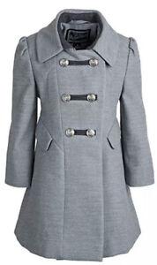 New Rothschild Girls A-Line Military Long Winter Dress Coat 6x NWT Gray Peacoat