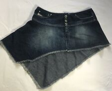 Diesel Denim Skirt. Size 10. W27. Blue. Assymetrical. Frayed. Button Fly.