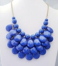 Blue Colored Multi Beaded Bib Drape Gold Tone Chain Statement Necklace