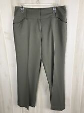 Women's Bobby J Pants Size 12 Olive Satin Trim Pockets
