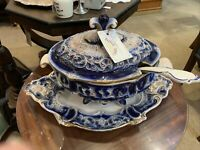 Large European Pottery Tureen, Ladle & Plate
