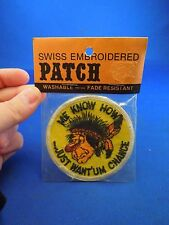 Vintage Swiss Brand Me Know How Just Want'um Change Embroidered Sew On Patch
