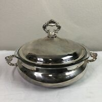FB Rogers Silver Chaffing Dish Serving Bowl Dinnerware Large Antique Pyrex Dish