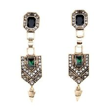 Emerald Crystal Antique Gold Drop Earrings