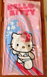 """FRANCO HELLO KITTY BEACH TOWEL """"HELLO KITTY LIVE FOR SURF"""" 28x58 IN 71x147 CM"""