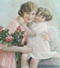 "Antique Cardboard Calendar ""Smiles"" Mother Daughter Roses Adorable"