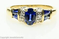 0.96 ct Oval Baguette Sapphire Diamond Accent 14K Yellow Gold Ring Sz. 5