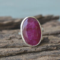Natural Red Ruby Gemstone 925 Sterling Silver Artisan Handmade Gift Ring Size 8