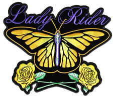 Lady Rider Butterfly, Roses Embroidered Biker Patch FREE SHIP