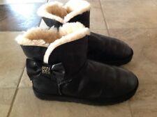 Ugg Damen Leder Lammfell Stiefel Stiefeletten Größe 39 mit Swarovski Kristallen