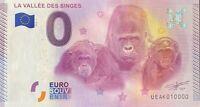BILLET 0  EURO LA VALLEE DES SINGES FRANCE  2015  N° 10000 DERNIER BILLET