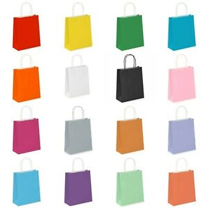 1 -350 Coloured PAPER BAGS. Twisted Handles. Party, Birthday, Gifts, Carrier Bag
