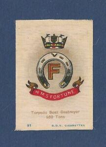 HMS FORTUNE  Silk Ships Crest Torpedo Boat Destroyer  Sunk JUTLAND original 1915