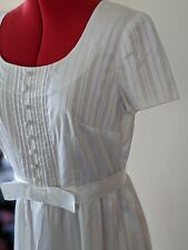 1960s Vintage Wedding Dress in Swiss Voile with bow & Pin Tucks S/M