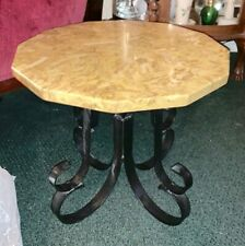 Vintage Marble Top Table With Heavy Wrought Iron Base SWIVEL TURNING