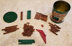 Wooden Lincoln Logs Bicentennial Log Cabin Wood Tin Set 100 Pieces