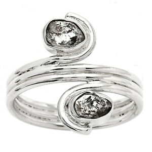 Natural Herkimer Diamond - USA 925 Sterling Silver Ring s.9 Jewelry E498