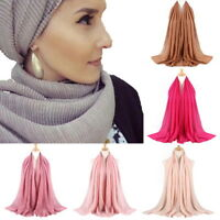 Muslim Cotton linen Square Scarf Shawl Hijab Headwear Women Lady Plain Bandana A