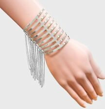 Silver Wide Chunky Fringe Chain Pageant Wedding Cuff Costume Bracelet Metal