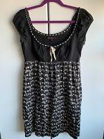 Betsey Johnson Love Dress Large Black Silk Babydoll 60s Retro Mini Pockets!