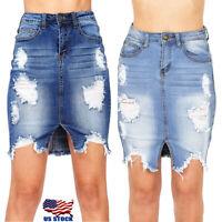 Women's High Waist Slim Jeans Pockets Bodycon Ripped Short Mini Demin Skirts US