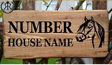 Rustic Horse House Sign Gate Plaque Door Number Personalised Name Plate Street