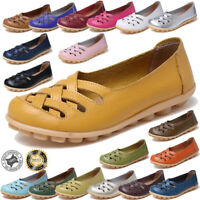 Ladies Leather Slip On Comfort Shoes Moccasin Oxfords Hollow Loafers Flat Shoes