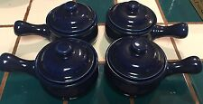 Vintage Country Borders Set 4 Ceramic Bowls W/ Lid Japan Glazed Midnight Blue