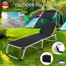 Alu Sonnenliege Gartenliege klappbar Dach Strandliege Campingliege Liegestuhl