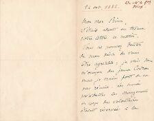 Gustave Léon Niox lettre autographe signée changement de corps 1886
