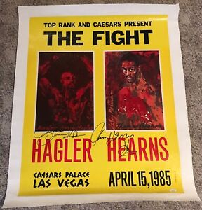 RARE MARVIN HAGLER & THOMAS HEARNS SIGNED CANVAS  BOXING FIGHT POSTER JSA AUTO