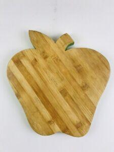 "Pottery Barn Eco Cutting Board Apple Shaped 12"" X 11"" Green Wooden Fall Autumn"