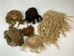 6 Antique Mohair Doll Wigs