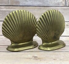 Vintage Book End Solid Brass Sea Shell Shabby Bookends