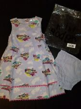 Mini Boden dress girl 2 3 years Dusty lilac Village Houses Buildings New