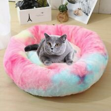 Donut Round Rainbow Dog Cat Calming Pet Bed Soft Warm Plush Cushion Fluffy Nest