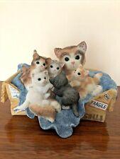 """2000 Enesco Calico Kittens """"Handle With Care"""" Figurine Priscilla Hillman Figurin"""